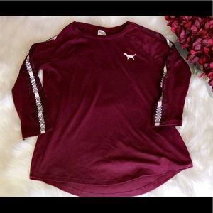 VS PINK Burgundy 3/4 Sleeves Tee